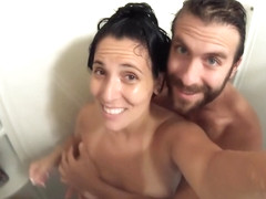 Soapy Handjob & Doggie Fuck, in the Shower. Closeup Go-Pro POV!