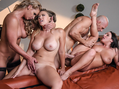 Angela White & Kagney Linn Karter & Phoenix Marie & Johnny Sins in Dinner For Cheats - BrazzersNet.