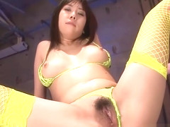 Lusty toying for sexy Japanese babe in fishnet stockings