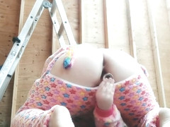 Teen in onesie masturbates in construction area