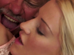 Dirty grandad loves it when Sienna Day wanks his cock and fingers his butt