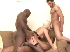 Hot blonde in erotic outfit, Blanche Bradburry likes big sex toys and interracial threesomes with .