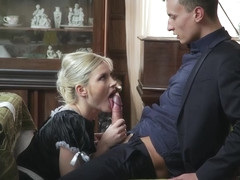 Sweet maid, Zazie Skymm is secretly in love with her boss and likes to suck his cock