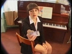 Piano teacher begs for a rough double penetration