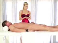 Blonde Masseuse Stroking