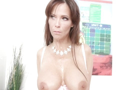 Syren De Mer is a busty milf who likes to ride a black cock in every situation