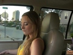 Busty amateur stranded teen Sam Summers fucked in the car