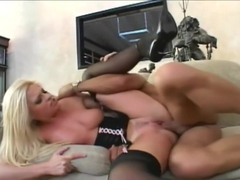 Sexy Blonde In Corsette Fucks Large Cock