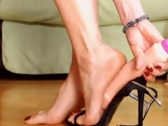 Black sandals + dildo + orange crush feet show