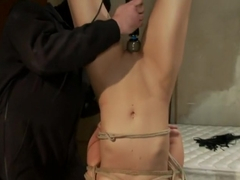 Tall long legged blond is hung upside down, made to cumChoked, clamped & abused, left hanging..