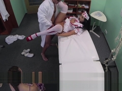 Patient shares doctors cock with halloween zombie nurse