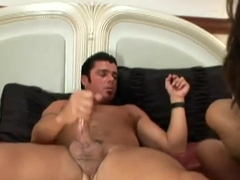 Nyomi Marcela riding a huge hard cock and eating cum