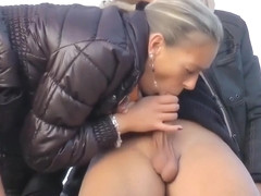 Pierced Blonde Woman Gets Her Shaved Twat Fucked Outside