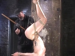 Suspended slut pussy toyed by master