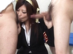Two Students Get Sucked By MILF Teacher Haruki Sato