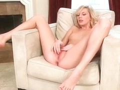 Blonde sex doll rubbing her perfect pink pussy to orgasm