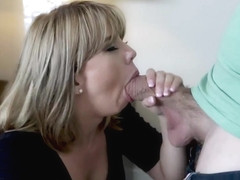 Possessive stepmom takes stepsons cock slipping in her mouth!