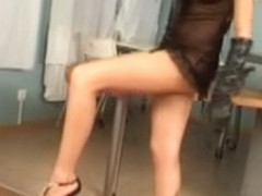 Nasty domina in foot fetish BDSM action with her slave