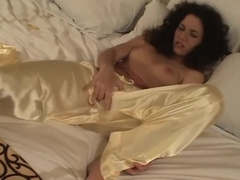 Hot Teen in Silk Pajamas Satisfies her Hungry Pussy with Two Vibrators