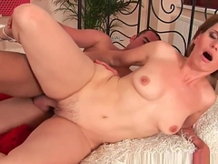 Sultry soccer mom enjoys his cock in her mouth and up her mature pussy