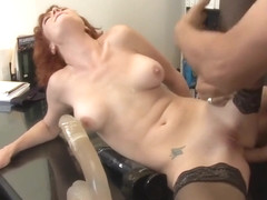 Audrey Hollander takes a big dildo in her ass