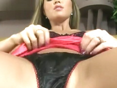 NATALIA TEASING IN HOT BLACK SATIN PANTIES