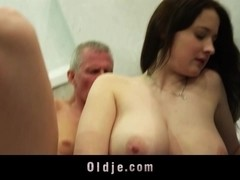 Big titted nasty girl takes old dick in mouth and puss