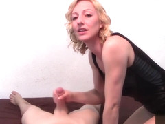 POV Handjob and Dirty Talk Until Cumshot by Brittany Lynn in Leather Dress