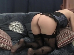 Sexy Redhead Mom in Stocking and LIngerie Getting Fucked Right On Webcam