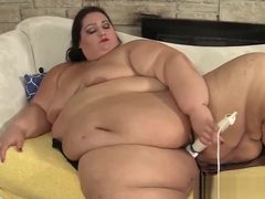 Busty ssbbw enjoys playing with toys