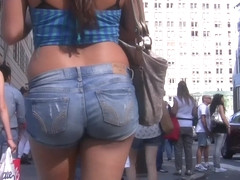 Nice Round Ass in Jean Shorts