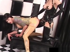 RubberDoll Butt Slaps & StrapOn Bangs Rubber Painted Lady!
