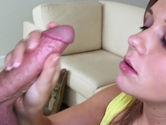 Load Of Cum For Amateur Brunette To Swallow