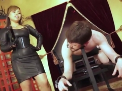asian domina leather electric taser slave femdom