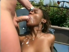 Precious black girl has three white guys roughly banging all her holes