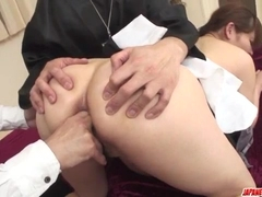 Asian nun, Hitomi Kanou, fucked and creamed by two male - More at Japanesemamas.com