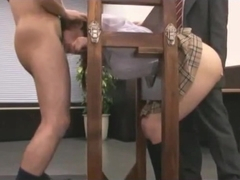 Schoolgirl tied to stocks fingered by teacher while mouth fucked by schoolguys cums to mouth and f.