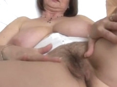 Mature English lady with huge boobs and hairy pussy