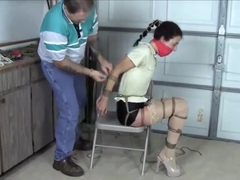 Girl hogtied tight and gagged