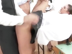 Rich students cumlicking in orgy with male teacher