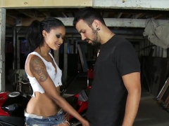 Sexual games of Skin Diamond and Voodoo in a garage, while repairing a motorbike