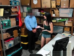 Security Guard Banging Brunette Thief