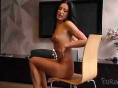 Laima Strip Tease And Double Dp Anal Beads On Living Room Table - EuroCoeds