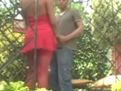 Busty blonde tranny fucks guy in the garden
