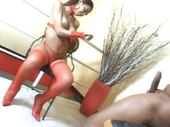 Latina shemale in red stockings has amazing anal sex
