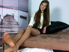 Polish Mistress - Ania sniffing my sexy feet in shiny pantyhose