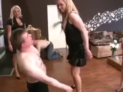 Slave gets brutally face slapped by three blondes I facebusting I latex