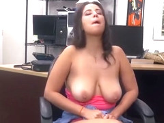 Busty latina Nina Lopez doggystyled after pawnshop BJ