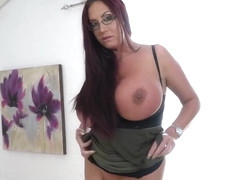 Busty woman with red hair, Emma Butt likes to masturbate while she is alone at home