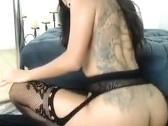 Uniformed babe Lacey Cruz sex in fishnet stockings